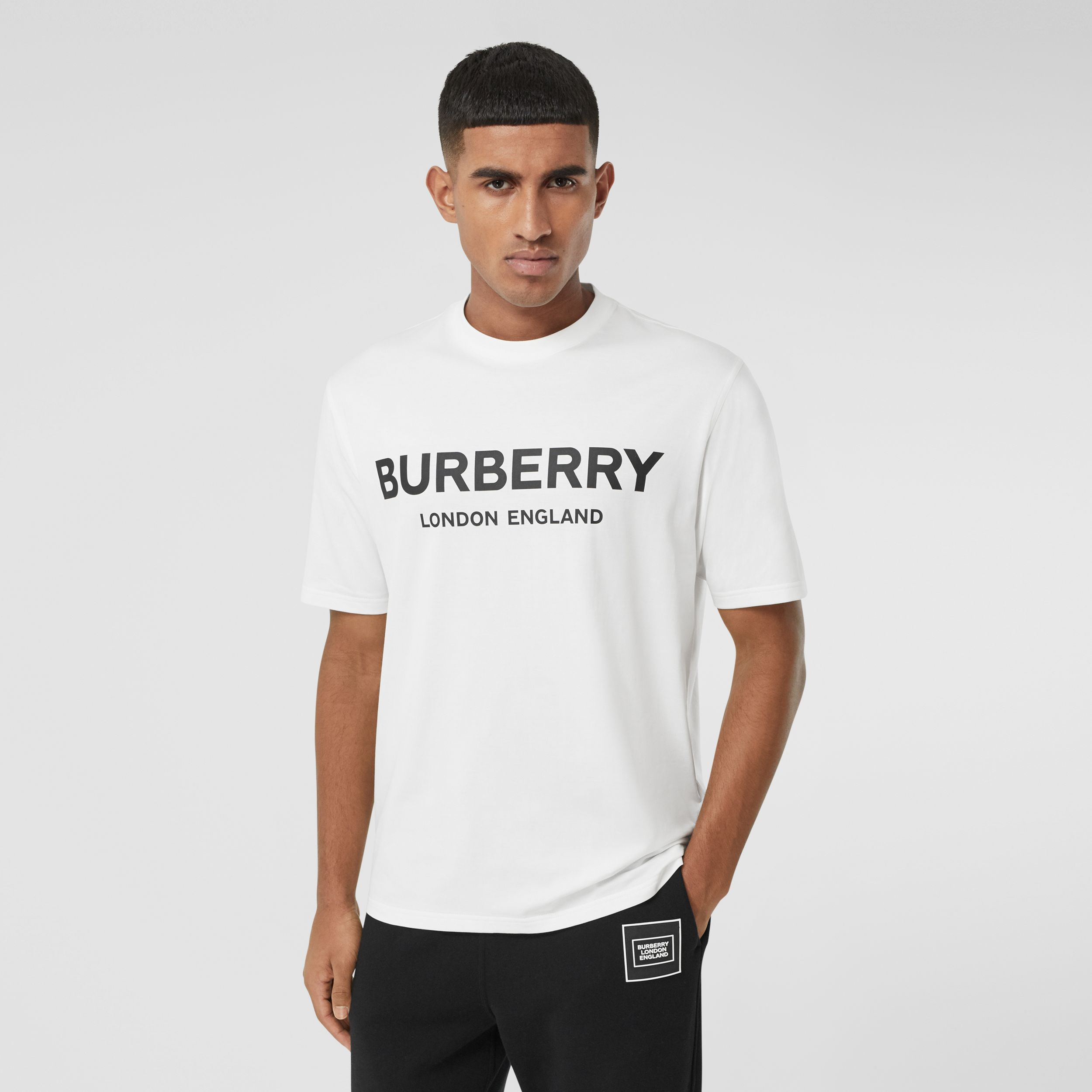 Logo Print Cotton T-shirt in White - Men | Burberry - 1