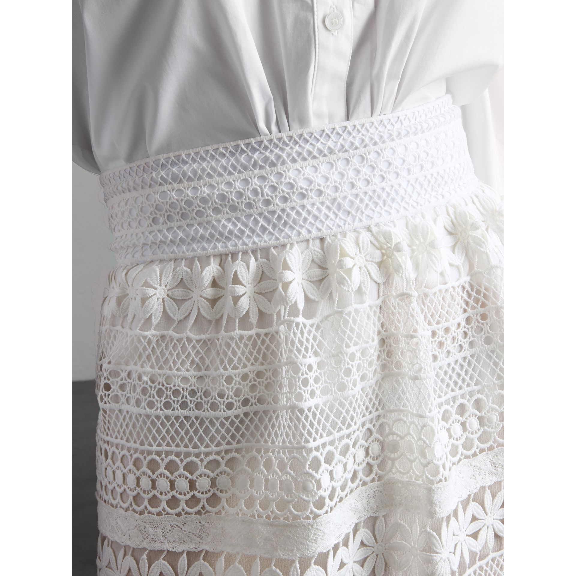 Macramé Lace Skirt in White - Women | Burberry - gallery image 5