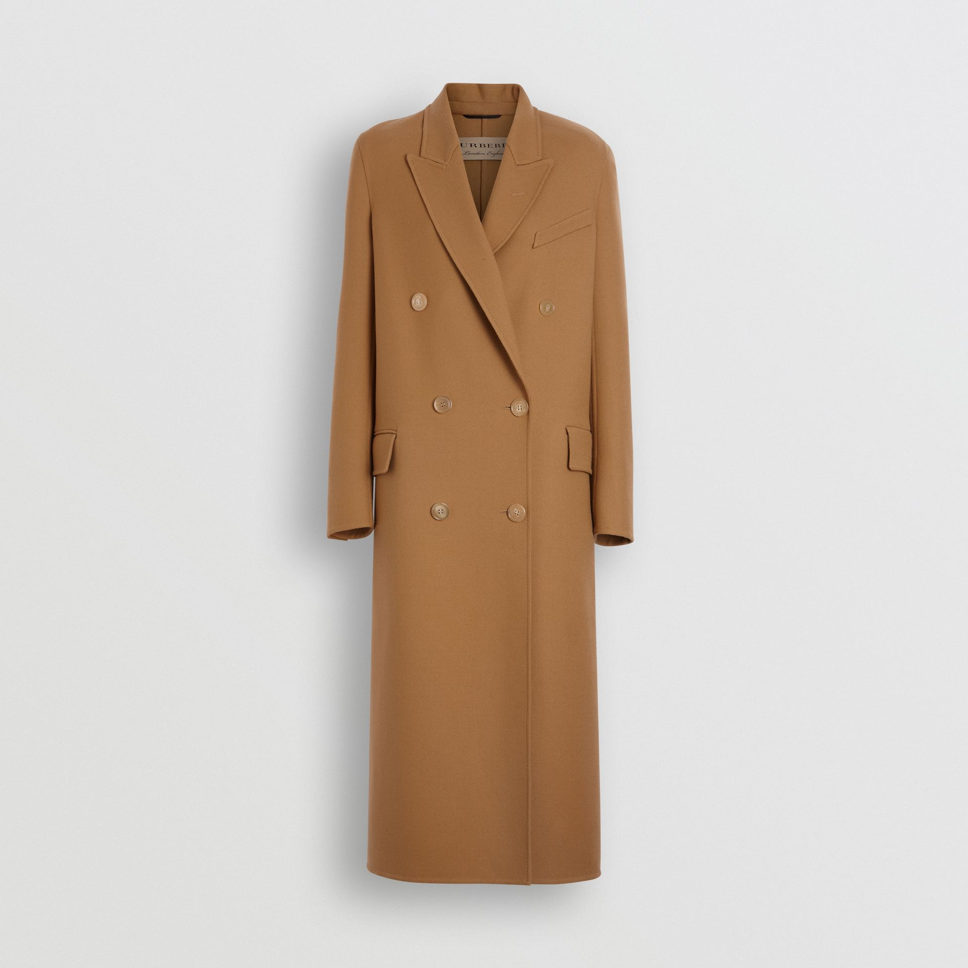 Double-breasted Wool Tailored Coat in Camel - Women | Burberry Singapore - gallery image 3