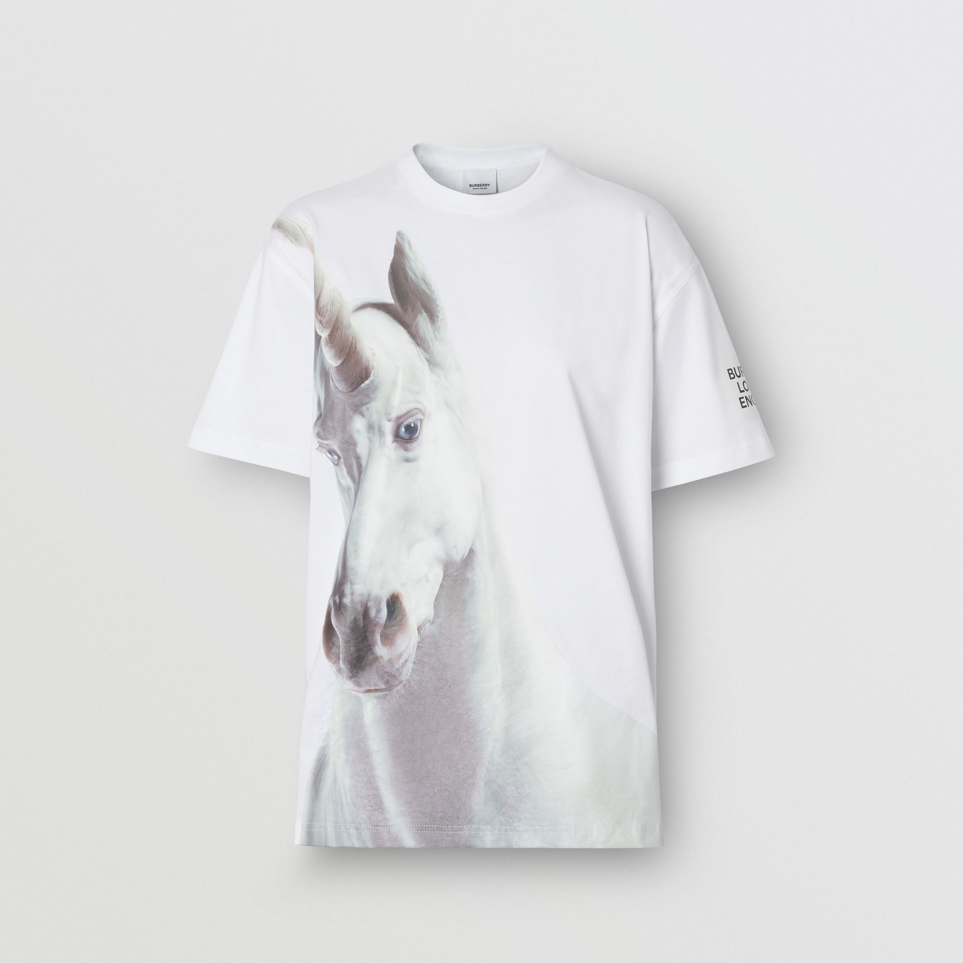 Unicorn Print Cotton Oversized T-shirt in White - Women | Burberry United Kingdom - gallery image 3