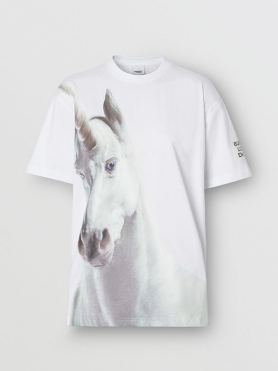 Unicorn Print Cotton Oversized T-shirt in White