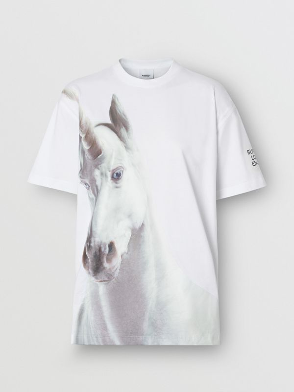 Unicorn Print Cotton Oversized T-shirt in White - Women | Burberry United Kingdom - cell image 3