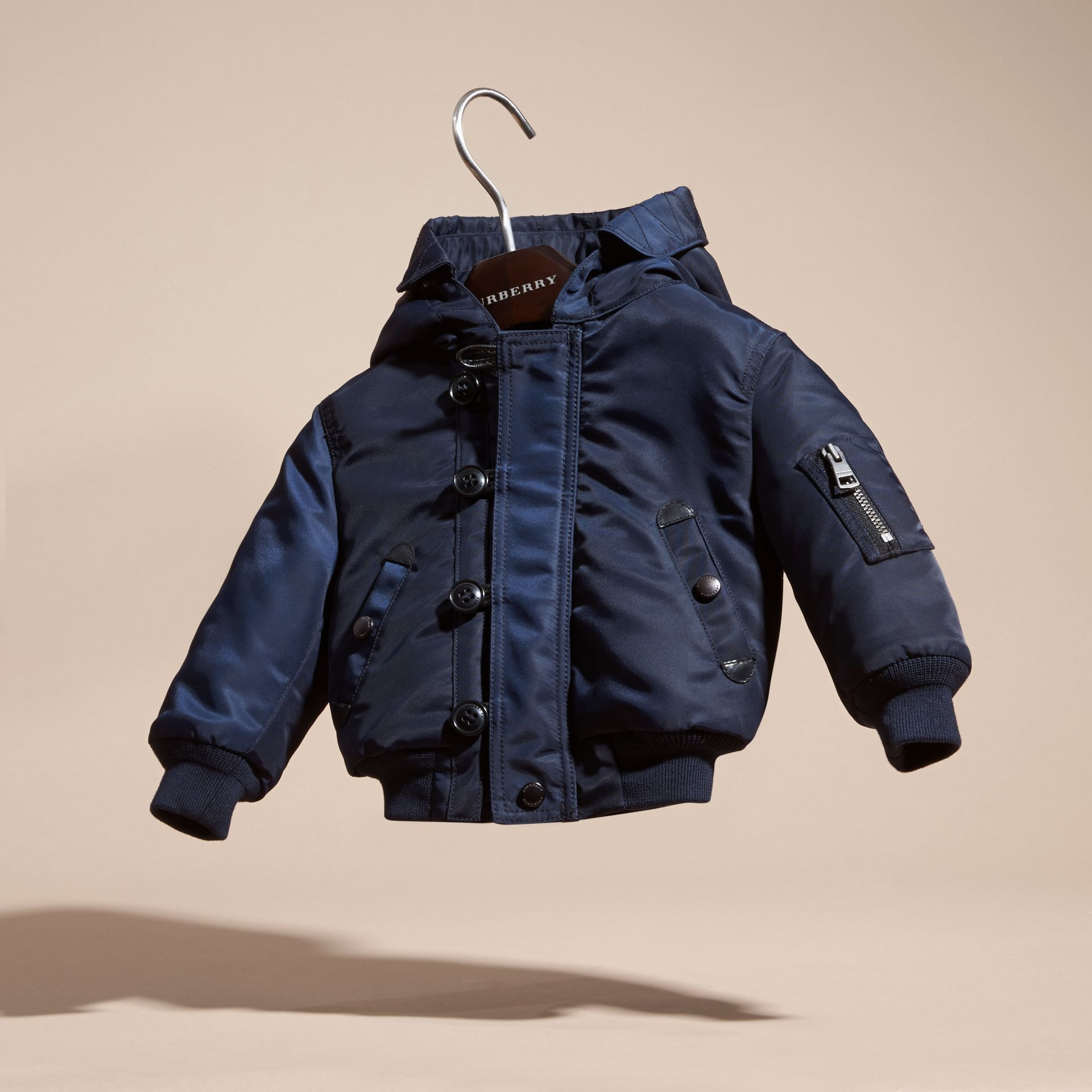 Navy Hooded Technical Twill Bomber Jacket - gallery image 3