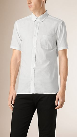 Short-sleeved Stretch Cotton Poplin Shirt
