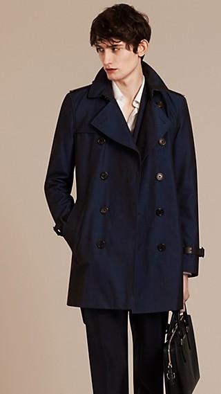Trench-coat en gabardine de coton avec éléments en cuir