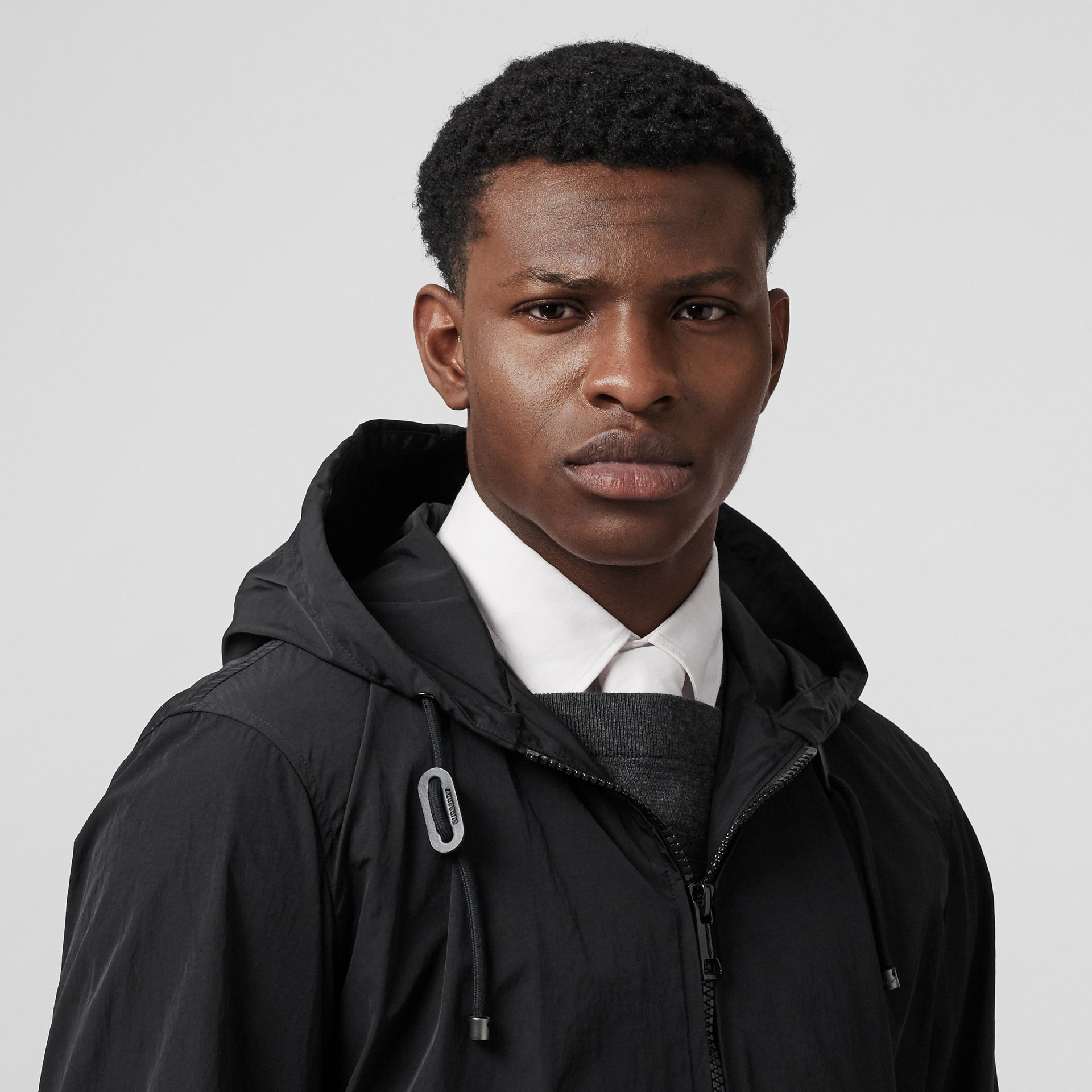 Packaway Lightweight Hooded Jacket in Black - Men | Burberry Australia - gallery image 1