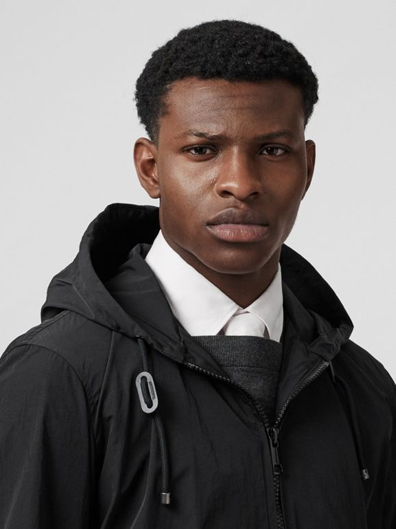 Packaway Lightweight Hooded Jacket in Black - Men | Burberry Canada - cell image 1