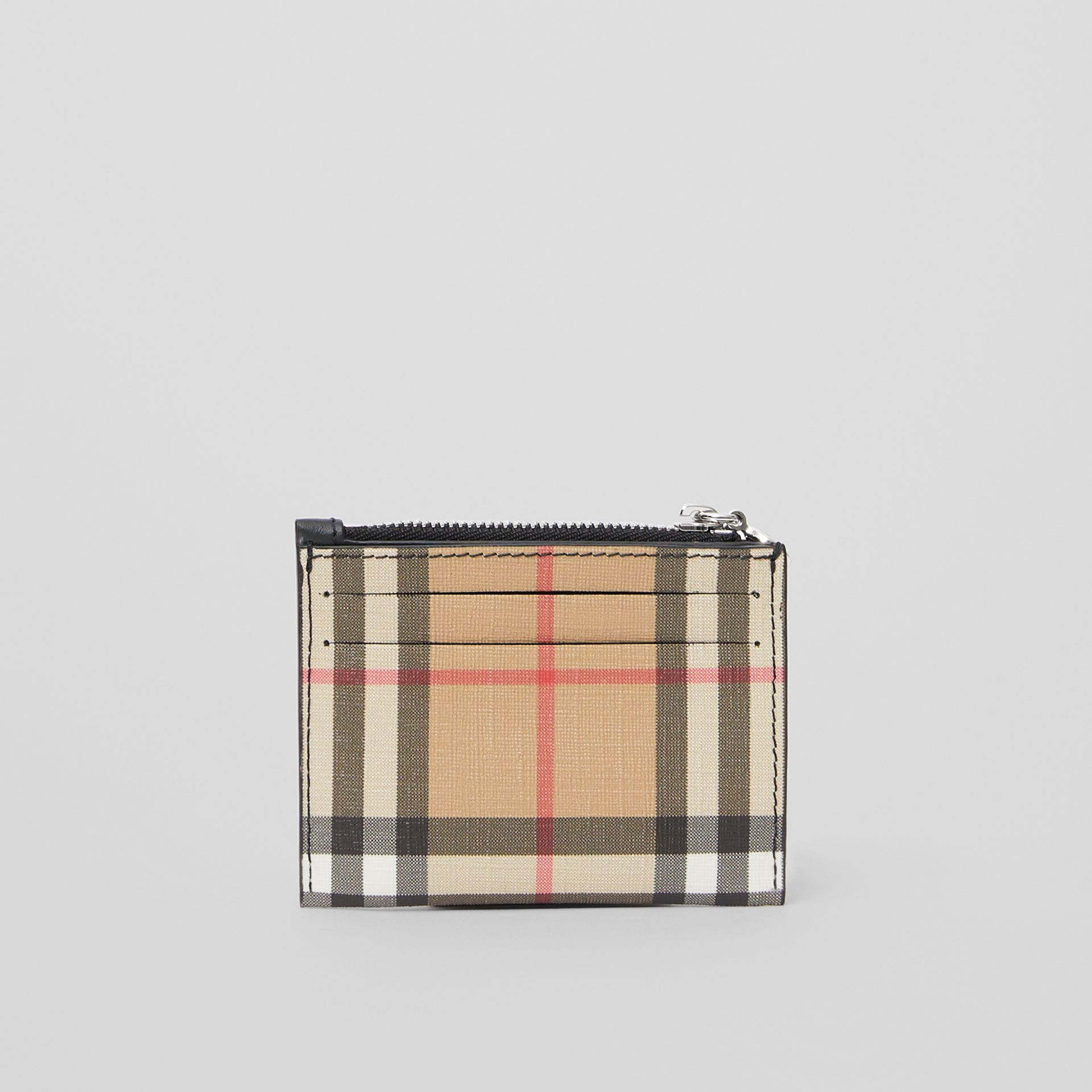 Vintage Check and Leather Zip Card Case in Black - Women | Burberry - gallery image 4