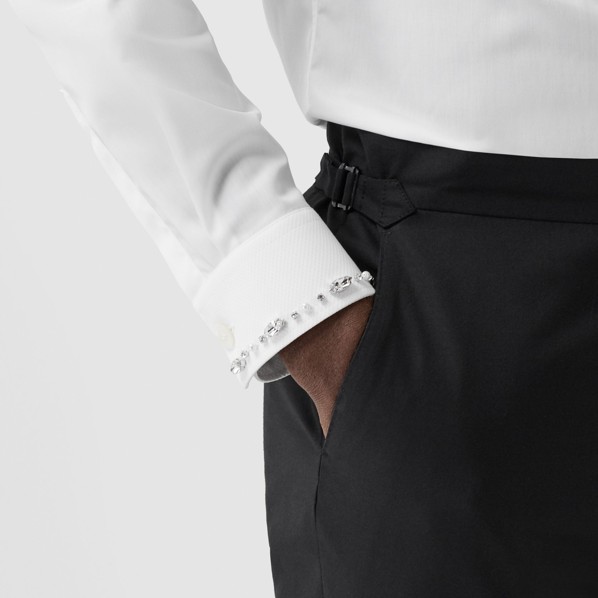 Slim Fit Embellished Cotton Poplin Shirt in White - Men | Burberry - gallery image 4