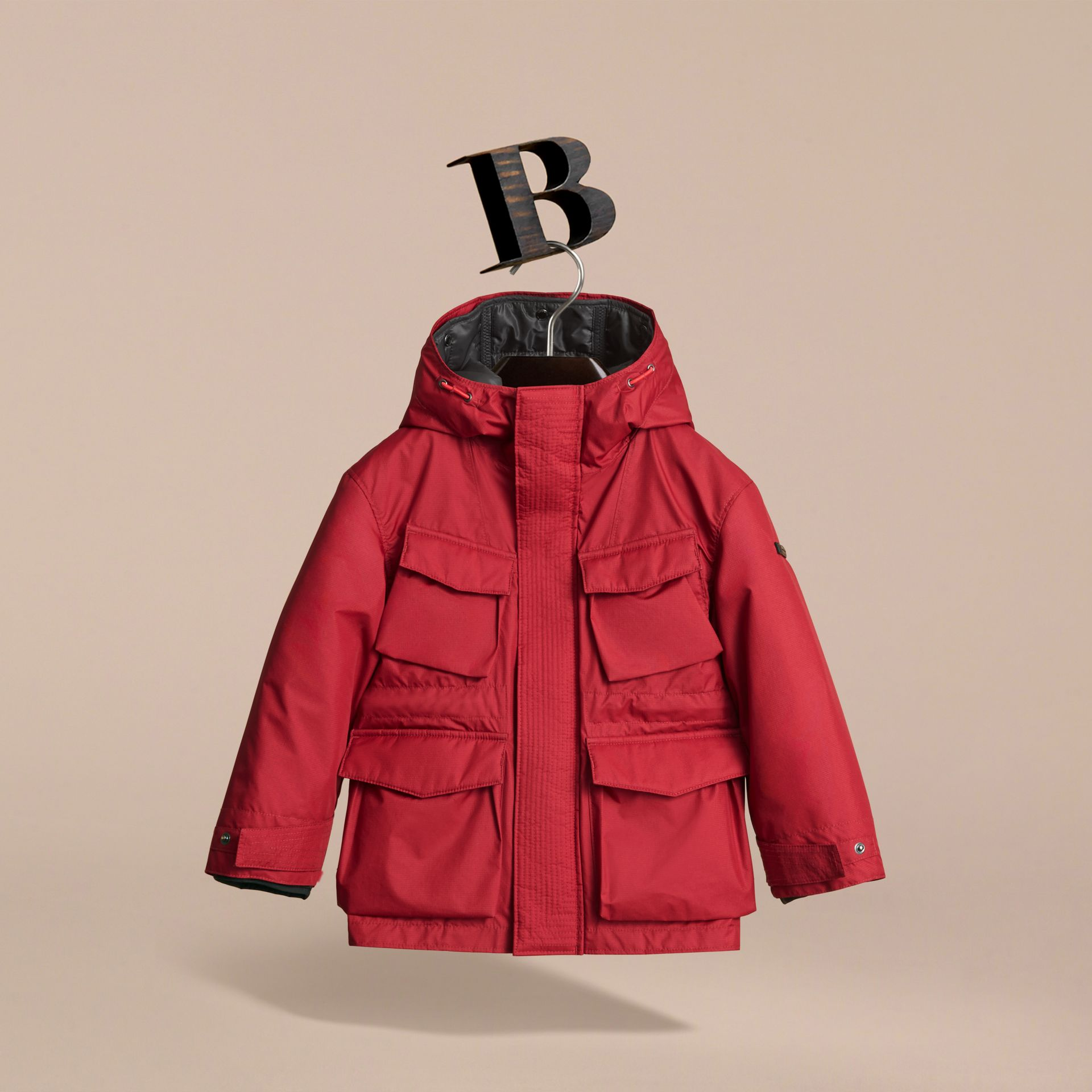 Hooded Field Jacket with Detachable Hooded Warmer in Parade Red - Boy | Burberry - gallery image 3