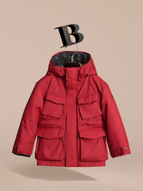 Hooded Field Jacket with Detachable Hooded Warmer in Parade Red - Boy | Burberry - cell image 2