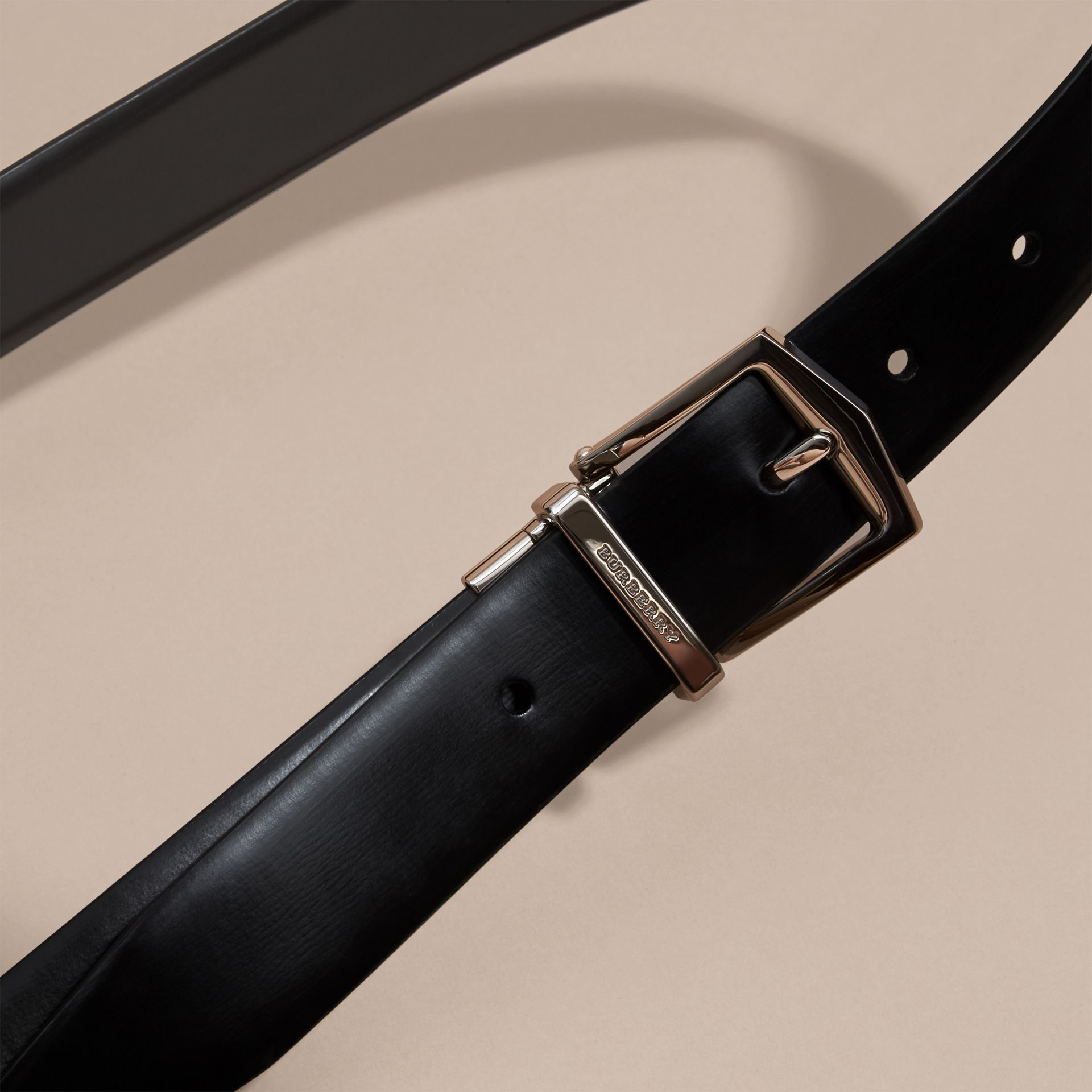 Black/chocolate Reversible Bridle Leather Belt - gallery image 2