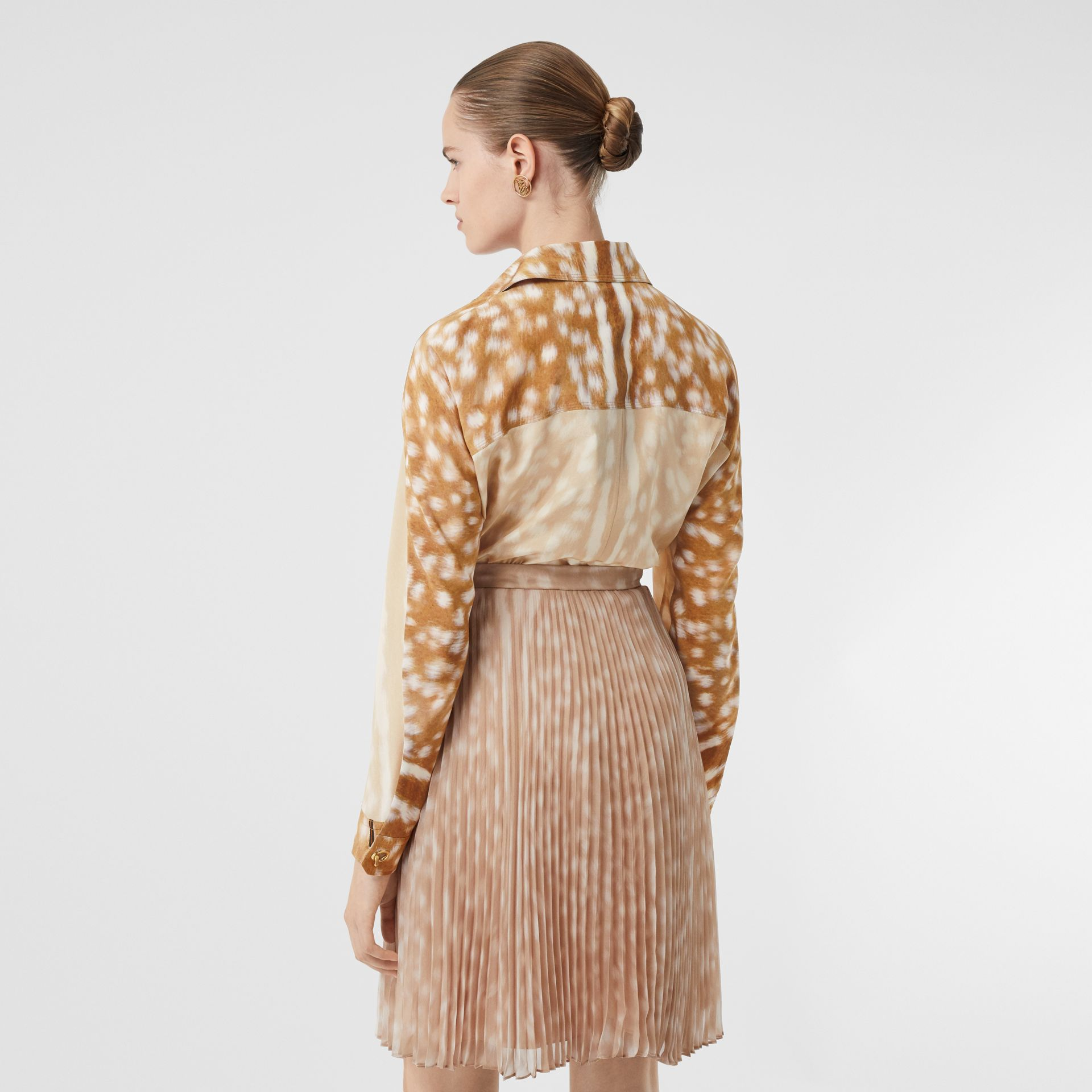 Cape Sleeve Deer Print Silk Shirt in Soft Fawn - Women | Burberry - gallery image 2