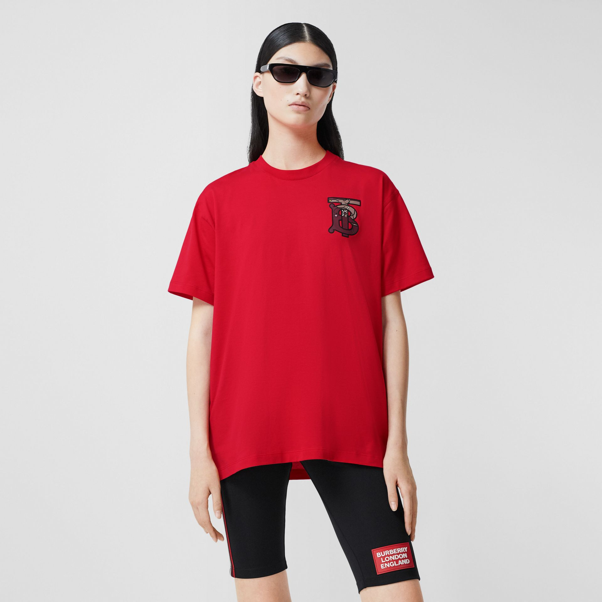 Monogram Motif Cotton Oversized T-shirt in Bright Red - Women | Burberry United Kingdom - gallery image 4