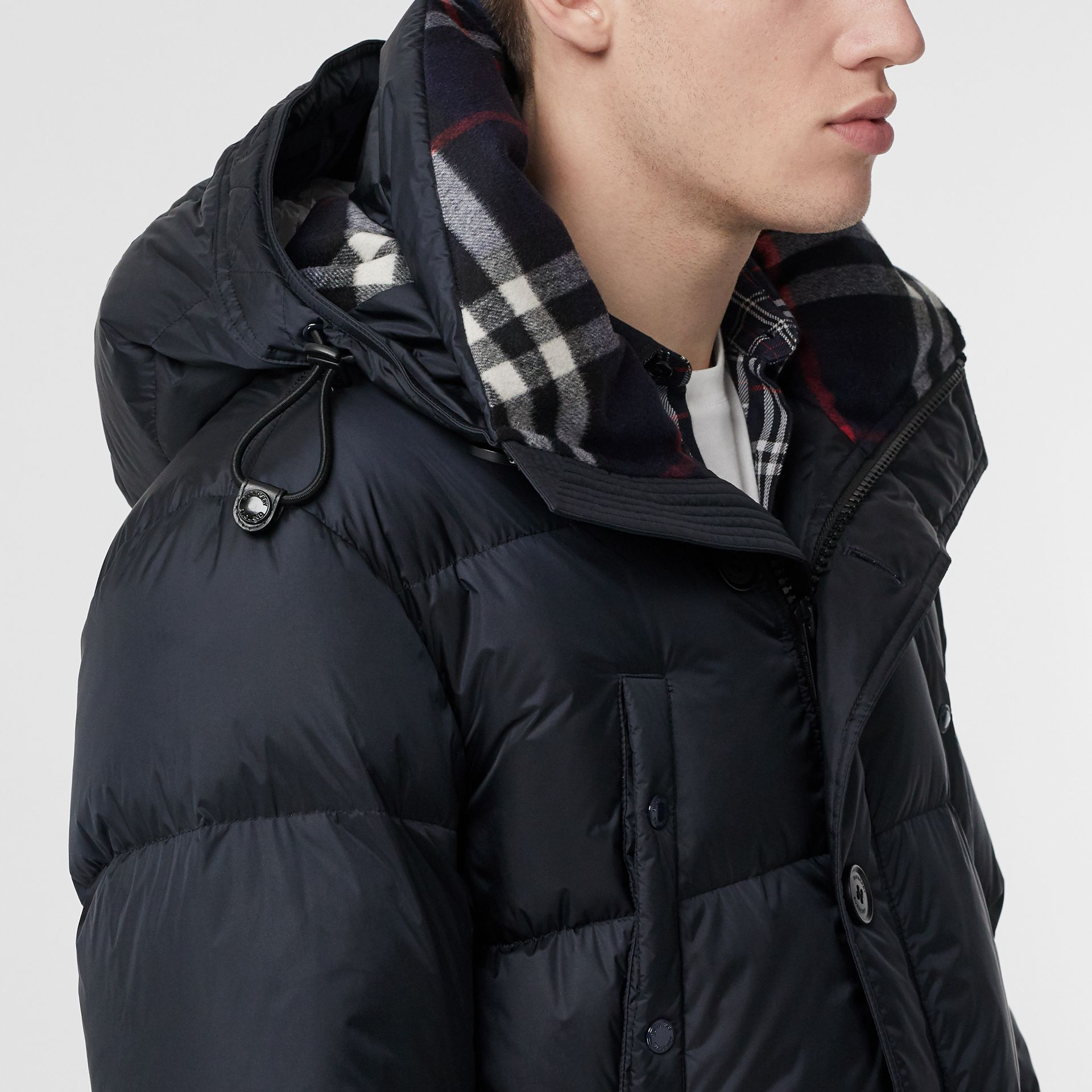 Logo Detail Hooded Puffer Coat in Navy - Men | Burberry - gallery image 5