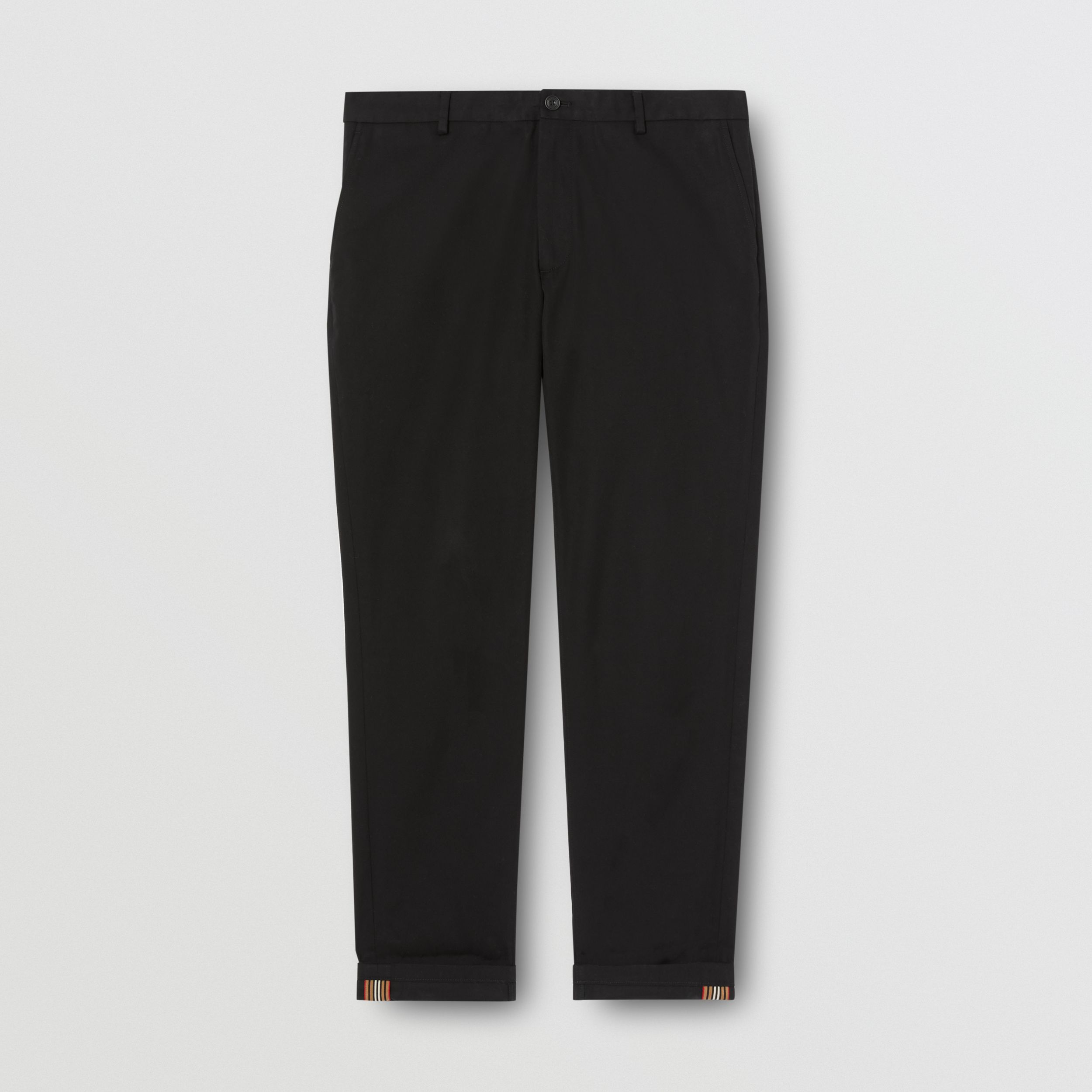 Slim Fit Cotton Chinos in Black - Men | Burberry - 4