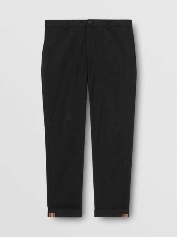 Calças chino de algodão com corte slim (Preto)