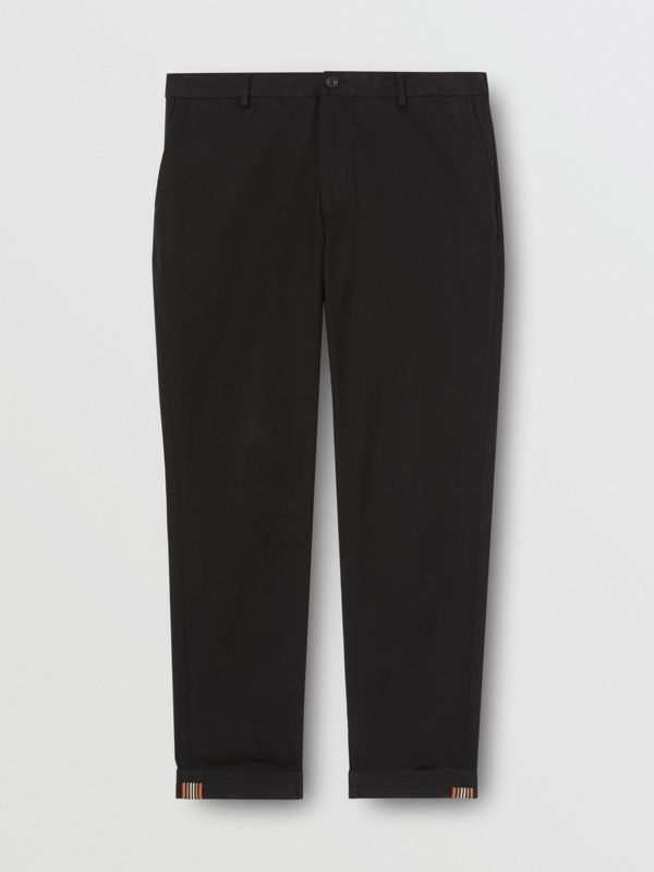 Slim Fit Cotton Chinos in Black - Men | Burberry Australia - cell image 3