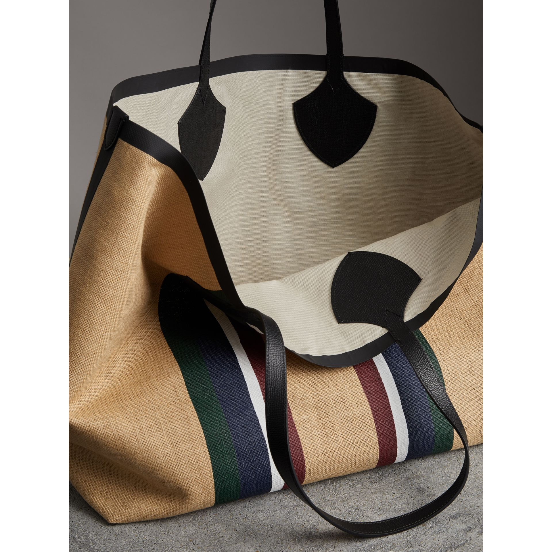 The Giant Tote in Striped Jute in Black - Women | Burberry Australia - gallery image 3