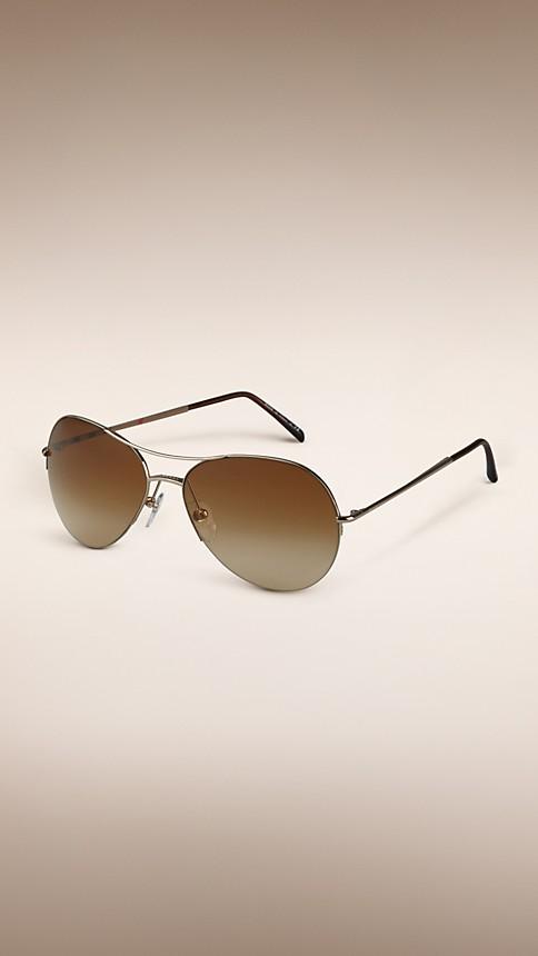 Pale gold Half-Frame Aviator Sunglasses - Image 1