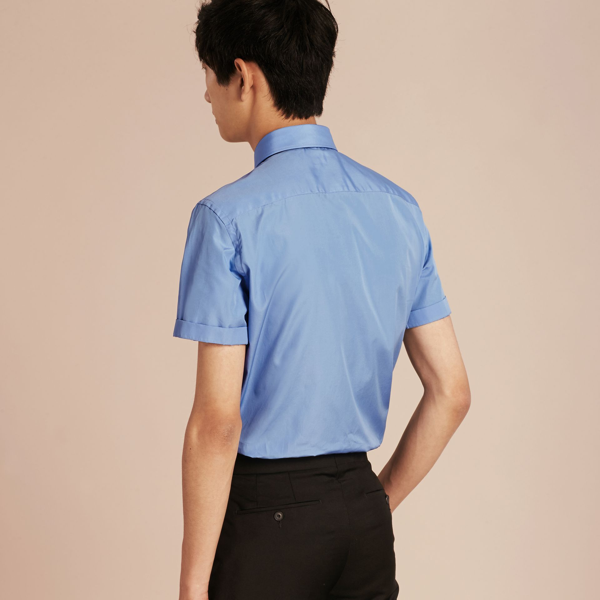 Mid blue Slim Fit Short-sleeved Cotton Poplin Shirt - gallery image 3