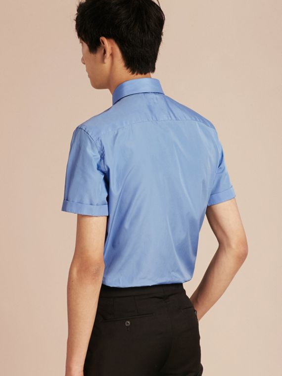 Mid blue Slim Fit Short-sleeved Cotton Poplin Shirt - cell image 2