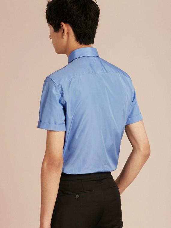 Mittelblau Schmal geschnittenes Hemd aus Baumwollpopelin mit kurzen Ärmeln - cell image 2