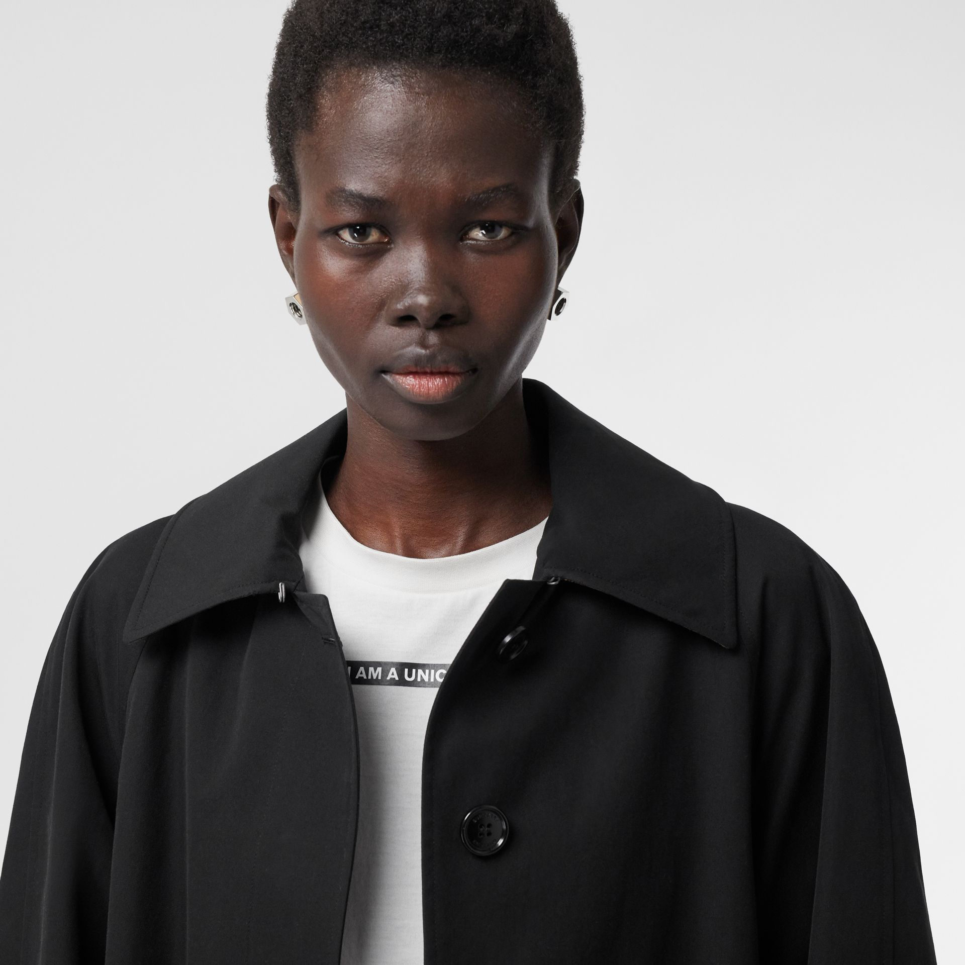Detachable Hood Tropical Gabardine Swing Coat in Black - Women | Burberry - gallery image 1