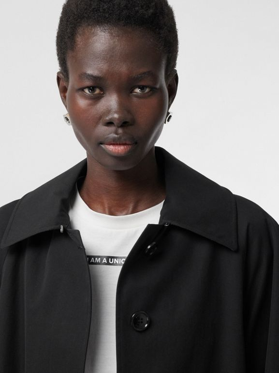 Detachable Hood Tropical Gabardine Swing Coat in Black - Women | Burberry Australia - cell image 1