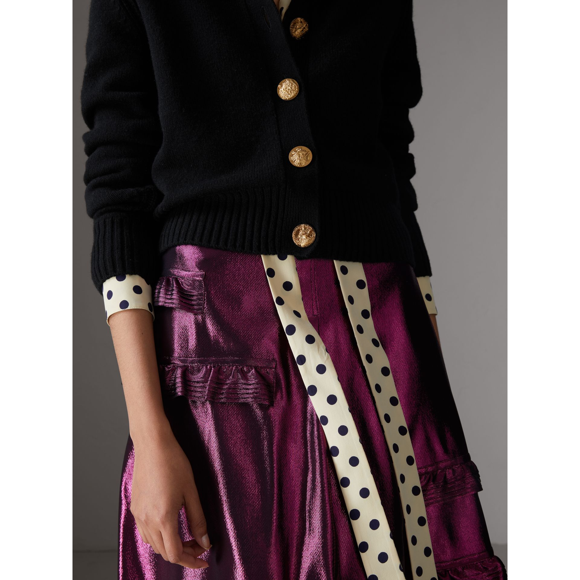 Bird Button Cashmere Cardigan in Black - Women | Burberry - gallery image 1