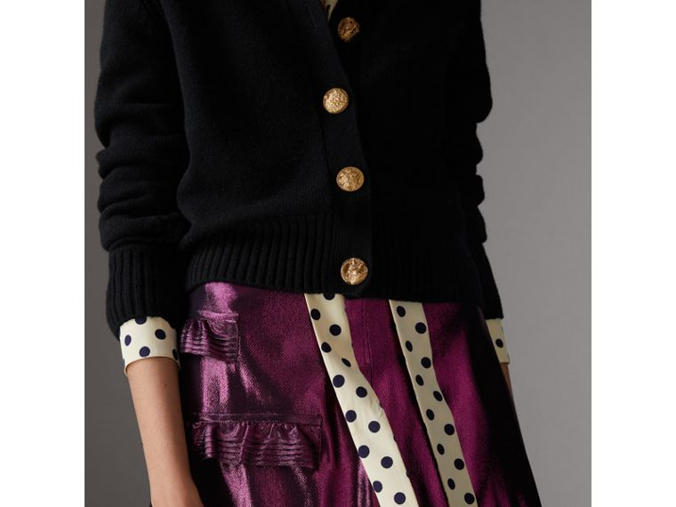 Bird Button Cashmere Cardigan in Black - Women | Burberry Canada - cell image 1
