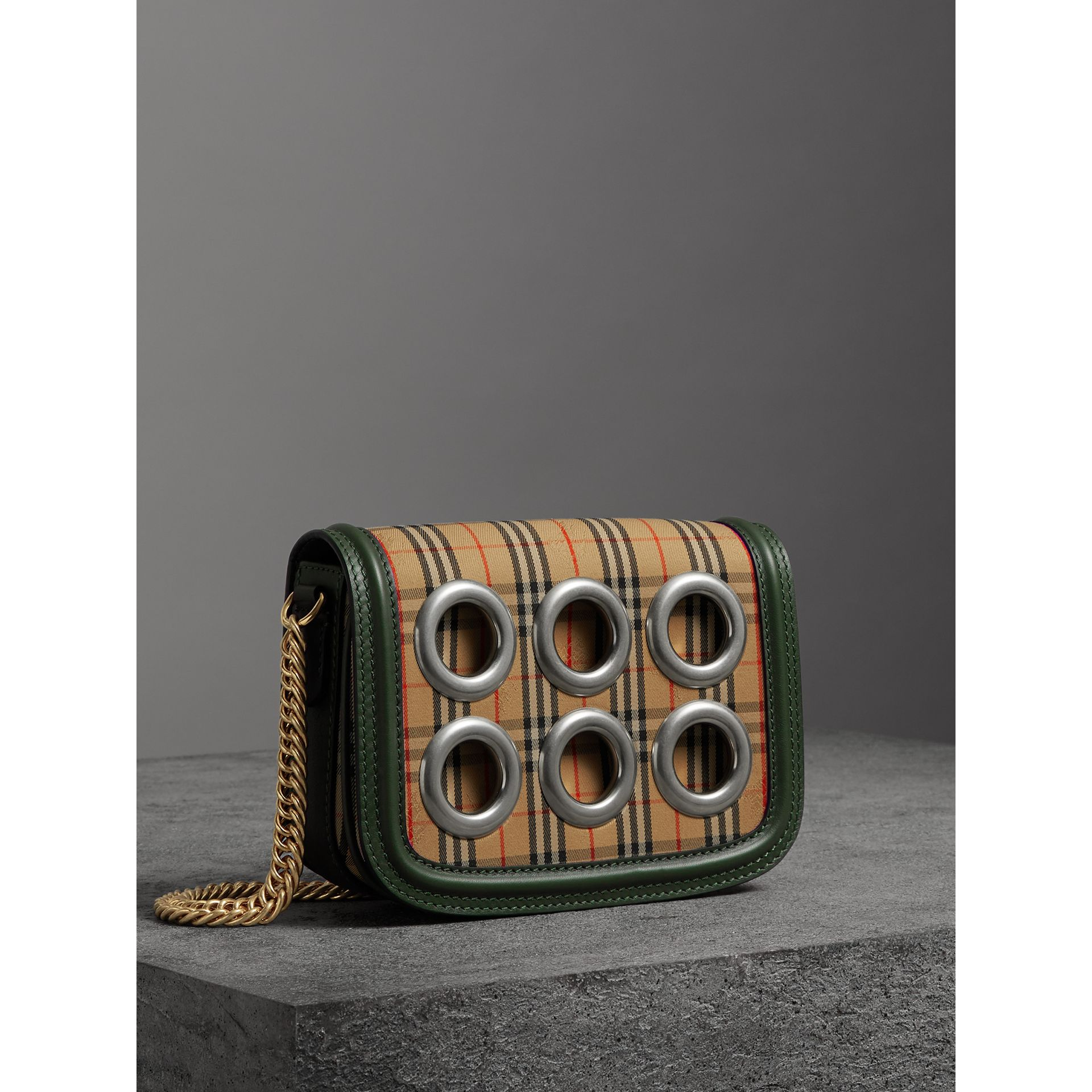 The 1983 Check Link Bag with Grommet Detail in Dark Forest Green - Women | Burberry United Kingdom - gallery image 7