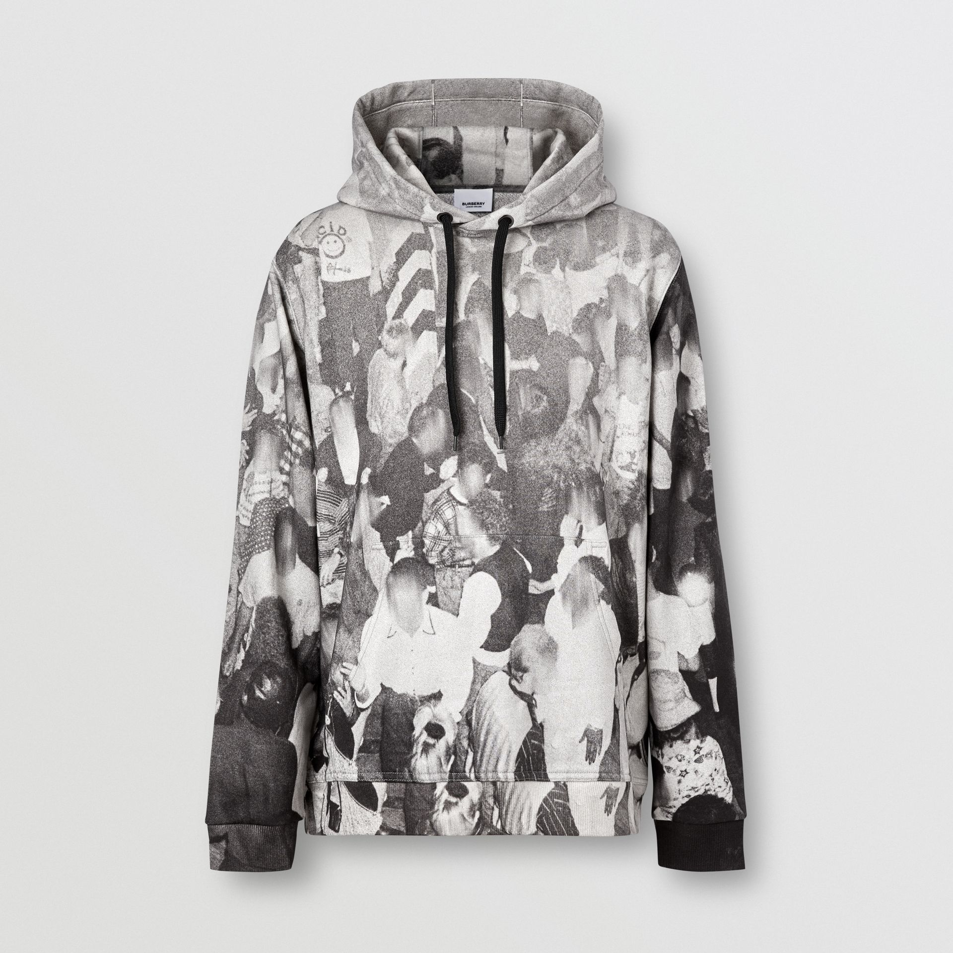 Rave Print Cotton Hoodie in Monochrome - Men | Burberry - gallery image 3