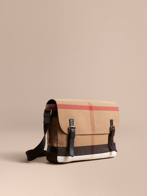 Large Leather Trim Canvas Check Messenger Bag