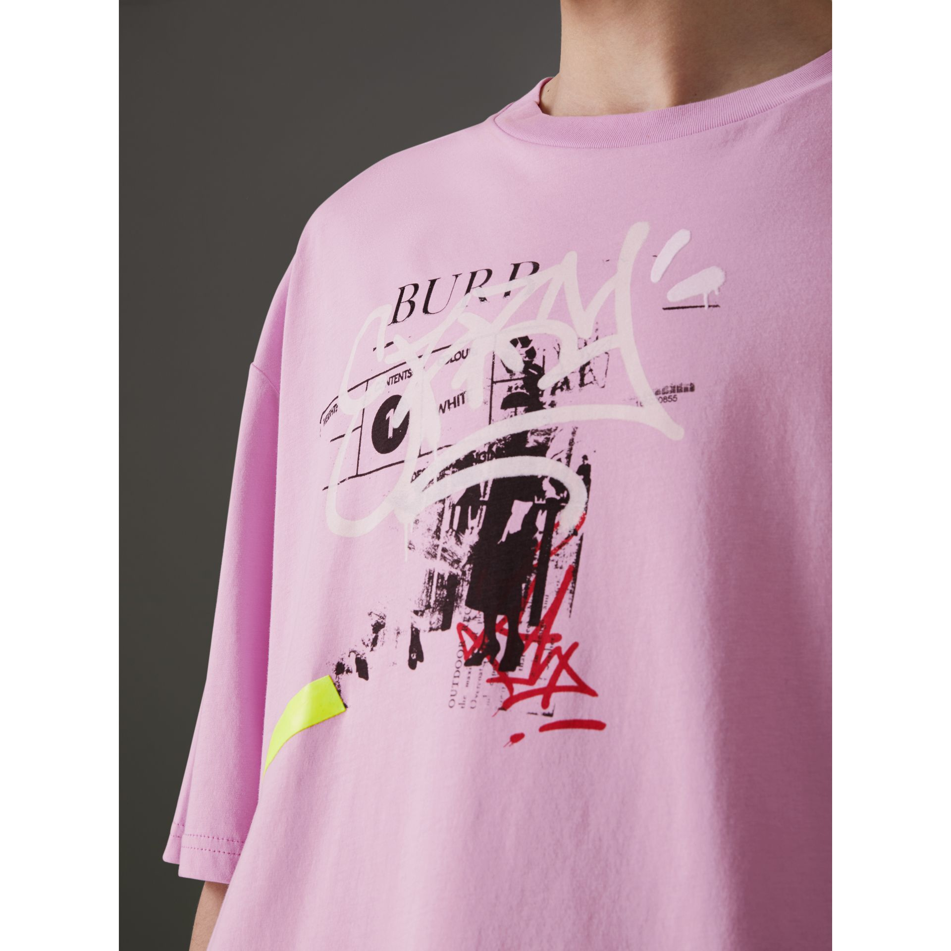 Graffitied Ticket Print Cotton T-shirt in Light Pink - Men | Burberry United Kingdom - gallery image 1