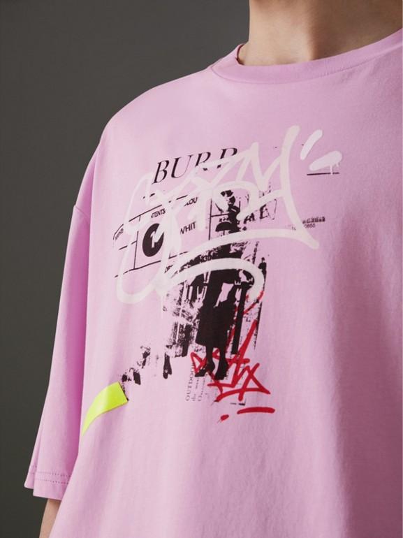 T-shirt en coton avec imprimé étiquette en graffiti (Rose Clair) - Homme | Burberry Canada - cell image 1