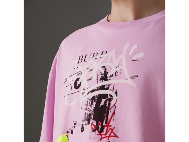 Graffitied Ticket Print Cotton T-shirt in Light Pink - Men | Burberry - cell image 1