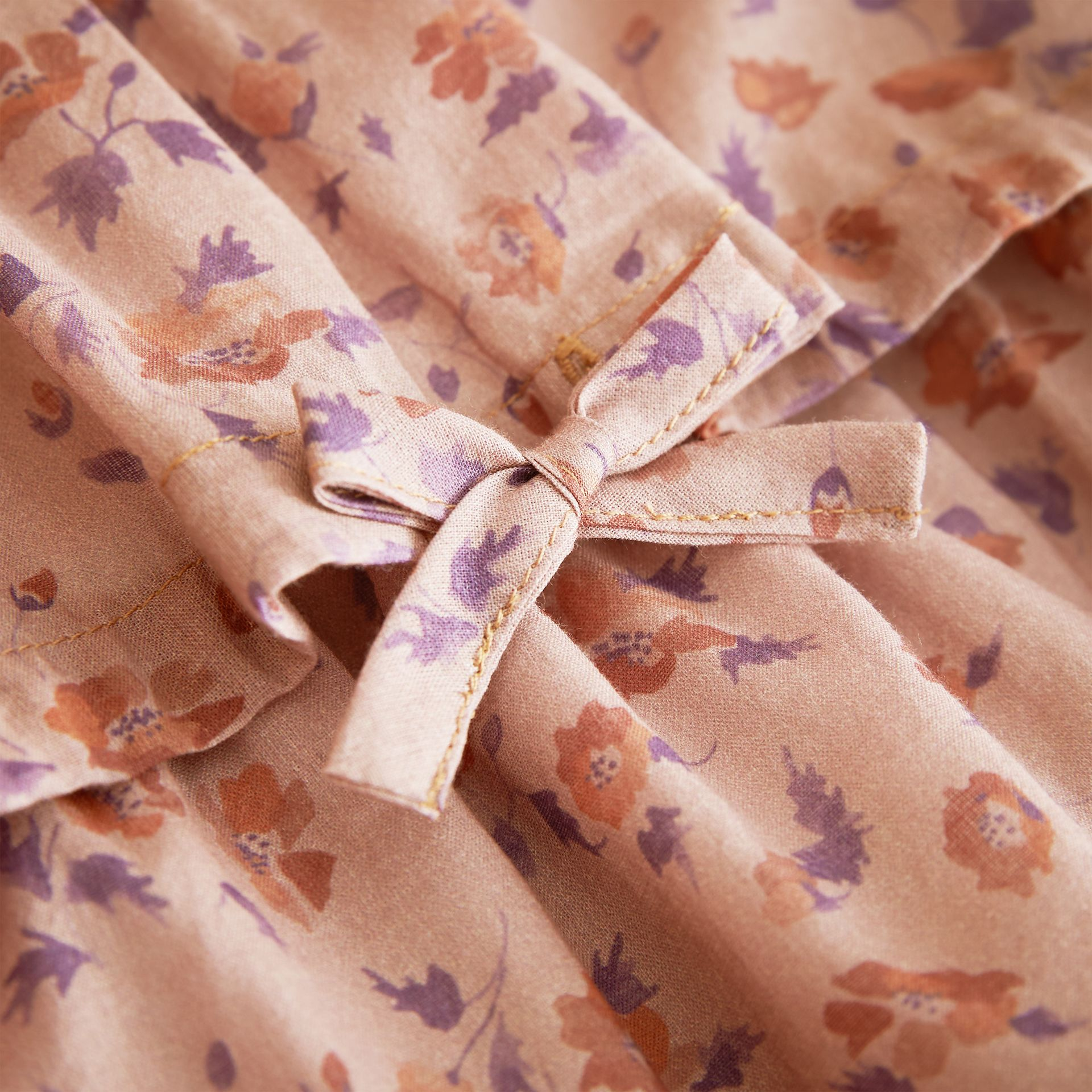 Pintuck Detail Floral Cotton Dress - gallery image 2