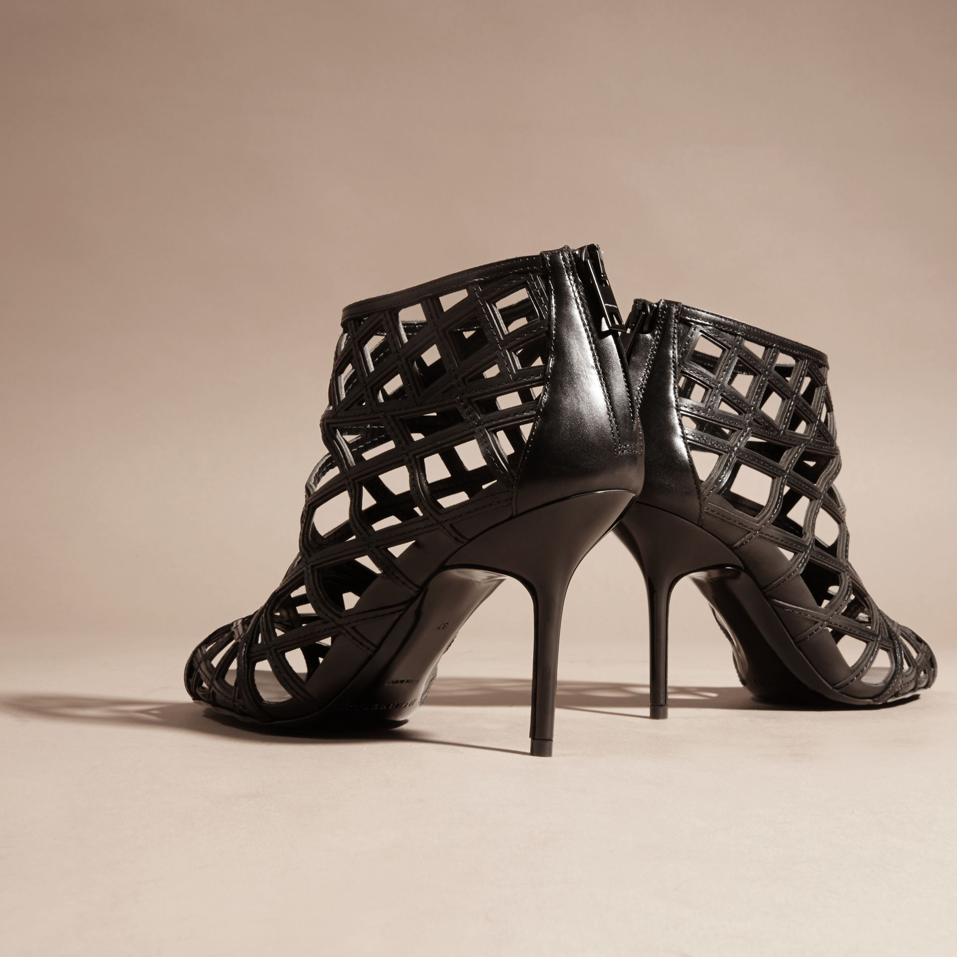 Black Cut-out Leather Ankle Boots Black - gallery image 4