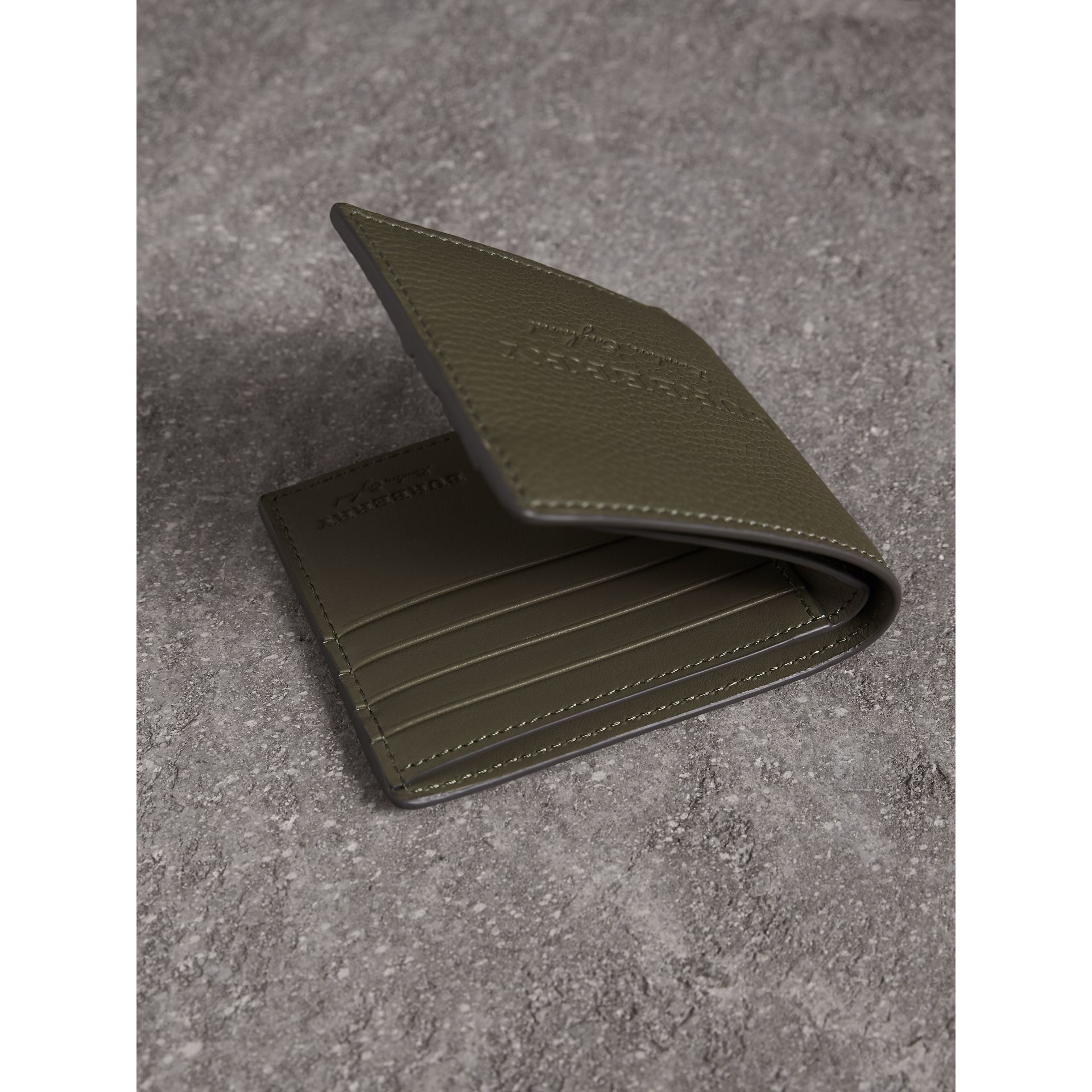 Embossed Leather Bifold Wallet in Slate Green - Men | Burberry - gallery image 4