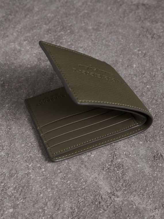 Embossed Leather Bifold Wallet in Slate Green - Men | Burberry - cell image 3