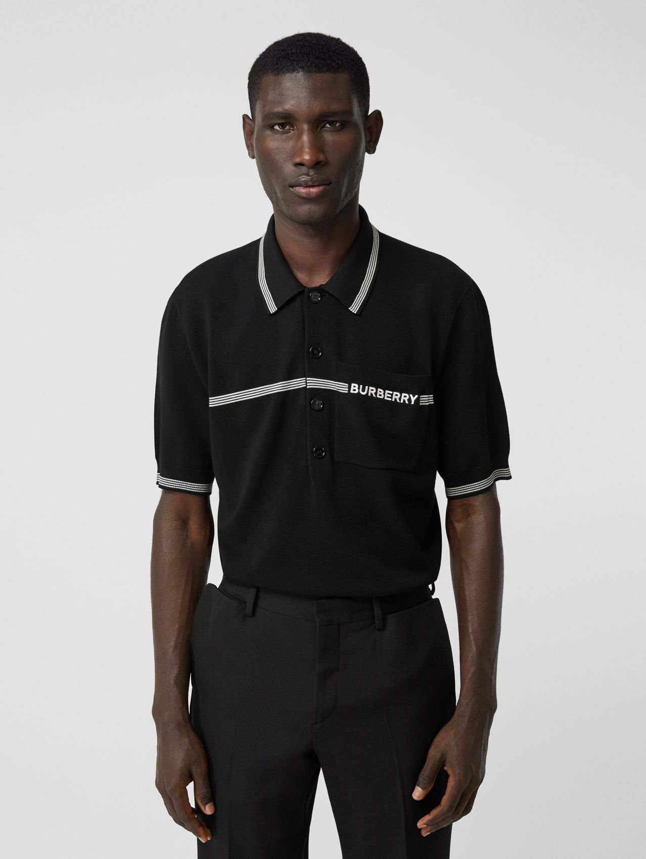 Logo Embroidered Wool Polo Shirt (Black)