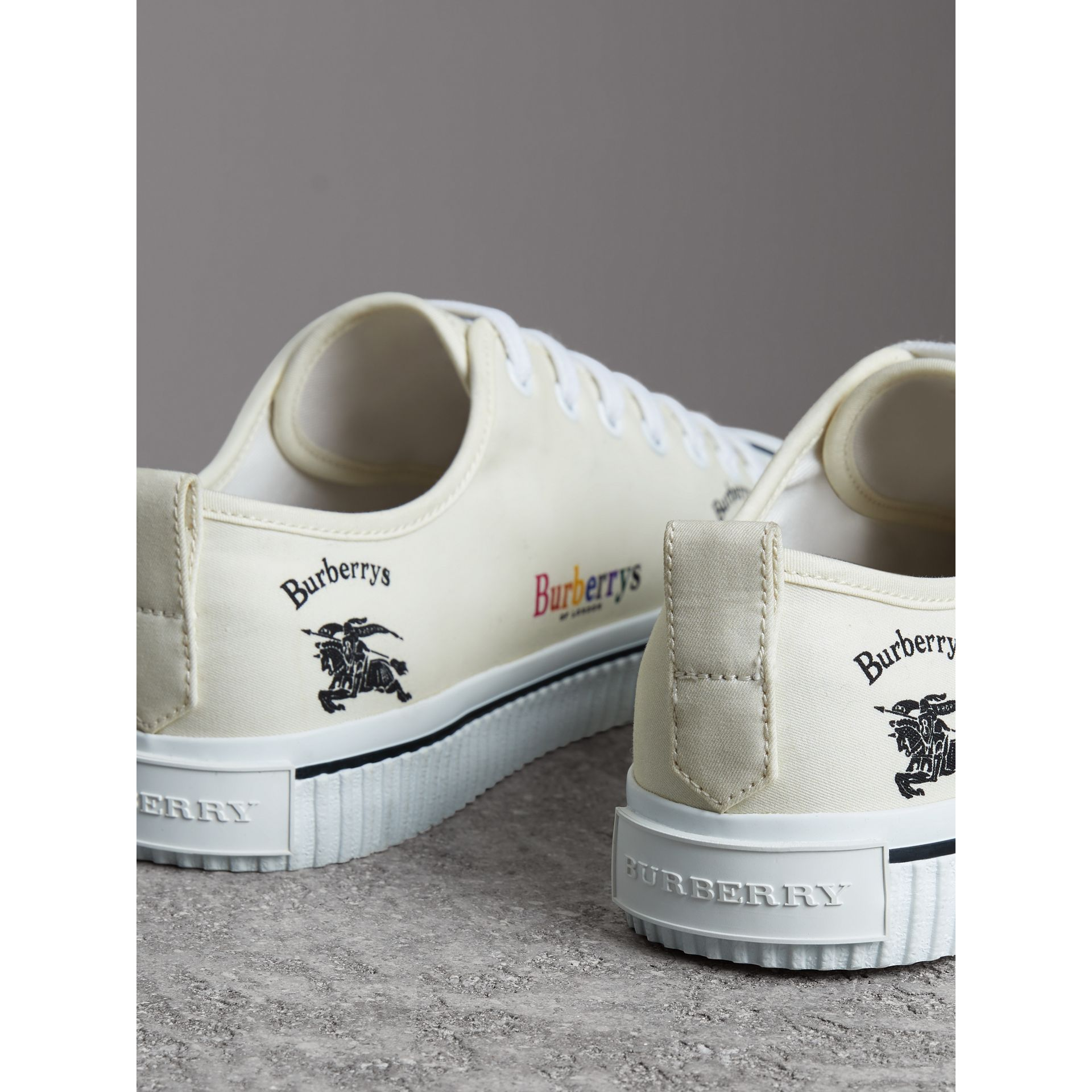 Archive Logo Cotton Gabardine Sneakers in Off White - Men | Burberry United Kingdom - gallery image 3