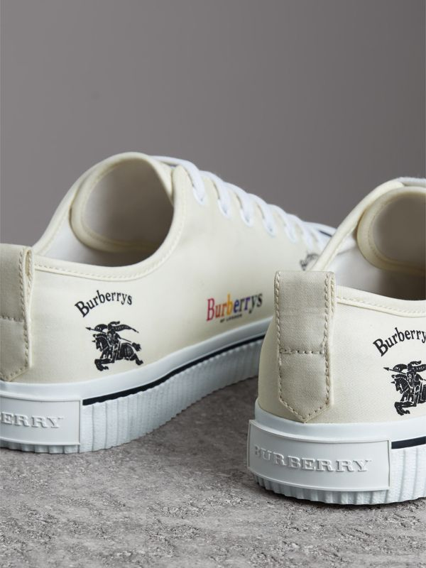 Archive Logo Cotton Gabardine Sneakers in Off White | Burberry - cell image 3