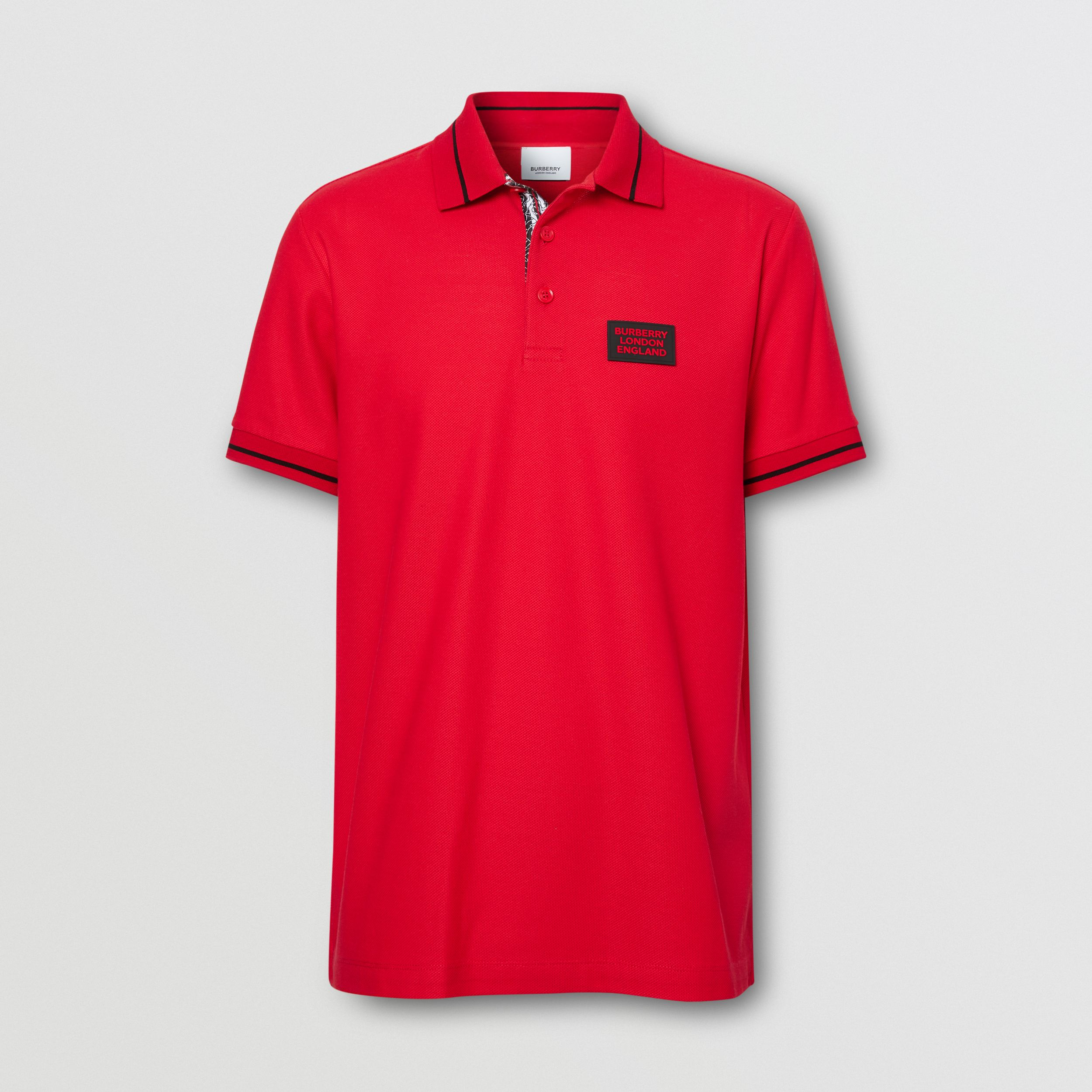 Logo Appliqué Cotton Piqué Polo Shirt in Bright Red - Men | Burberry - 4