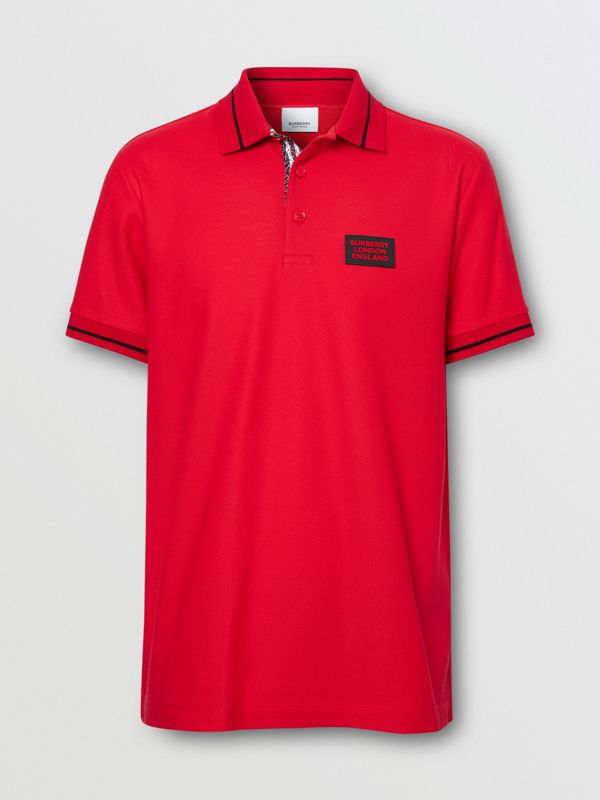 Logo Appliqué Cotton Piqué Polo Shirt in Bright Red - Men | Burberry - cell image 3