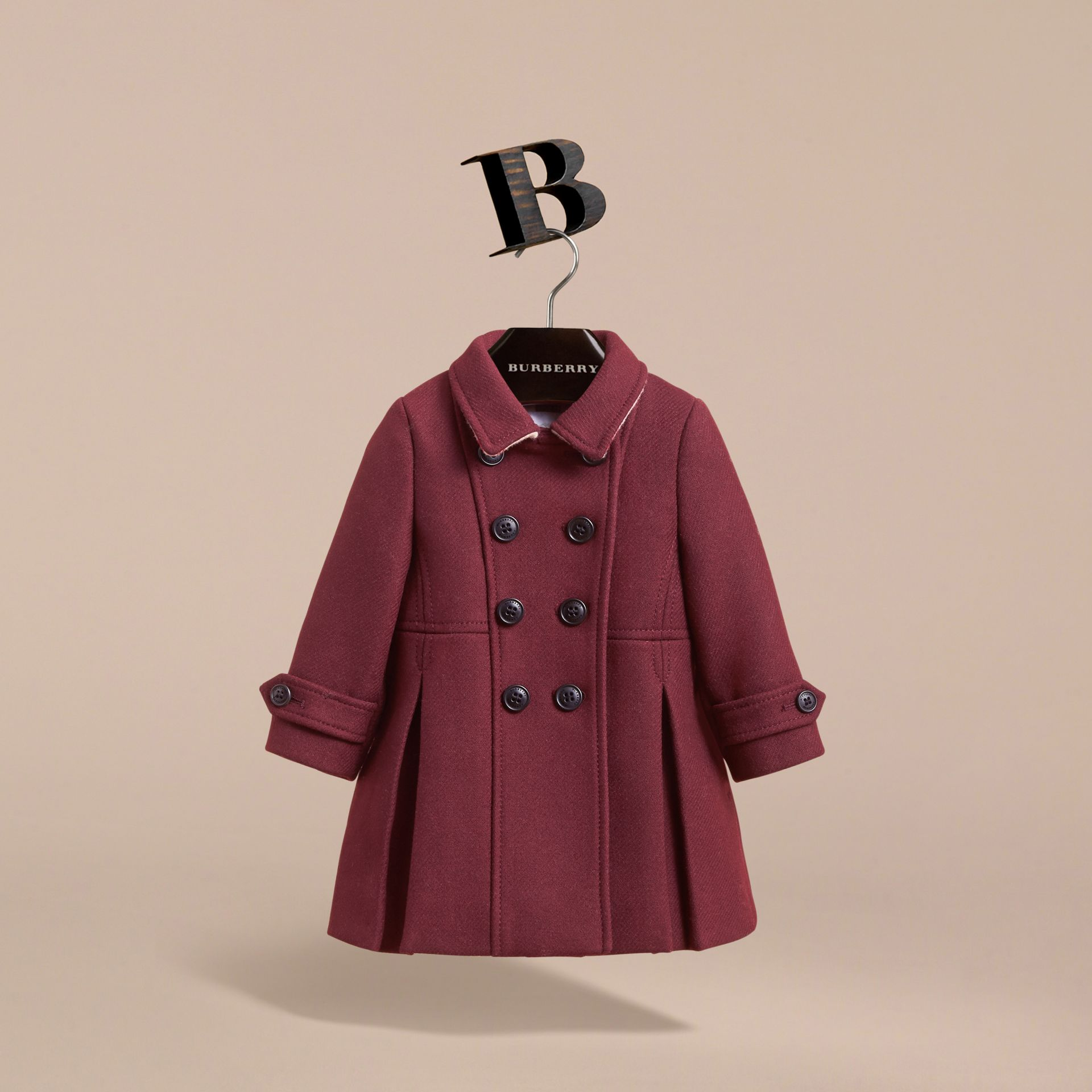 Wool Cashmere Blend Twill Tailored Coat in Garnet | Burberry - gallery image 3
