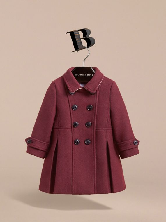 Wool Cashmere Blend Twill Tailored Coat in Garnet | Burberry Canada - cell image 2