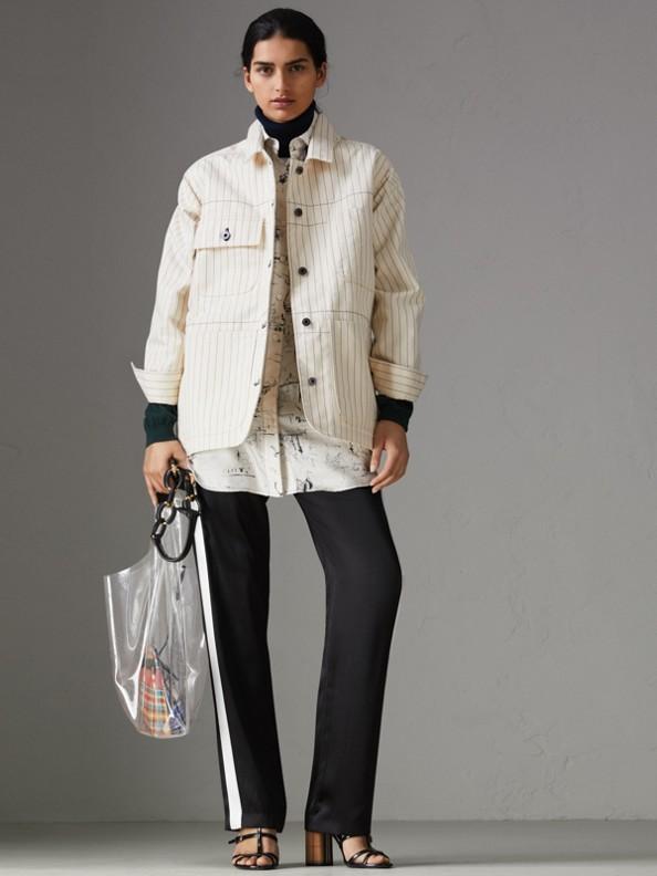 Pantalon de survêtement ajusté en satin de soie rayé (Noir)