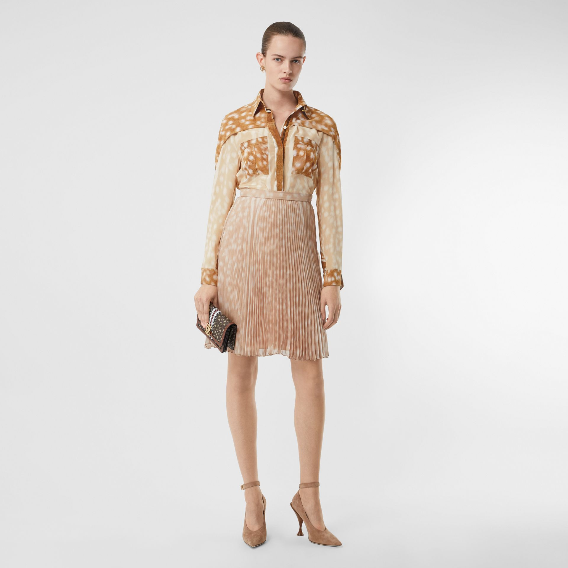 Cape Sleeve Deer Print Silk Shirt in Soft Fawn - Women | Burberry United Kingdom - gallery image 5